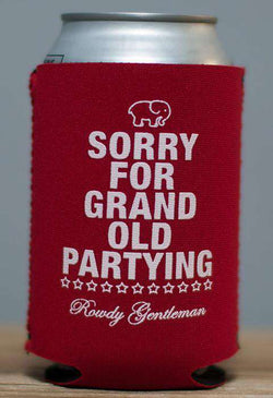 Can Holders - Sorry For Grand Old Partying Can Holder In Red By Rowdy Gentleman