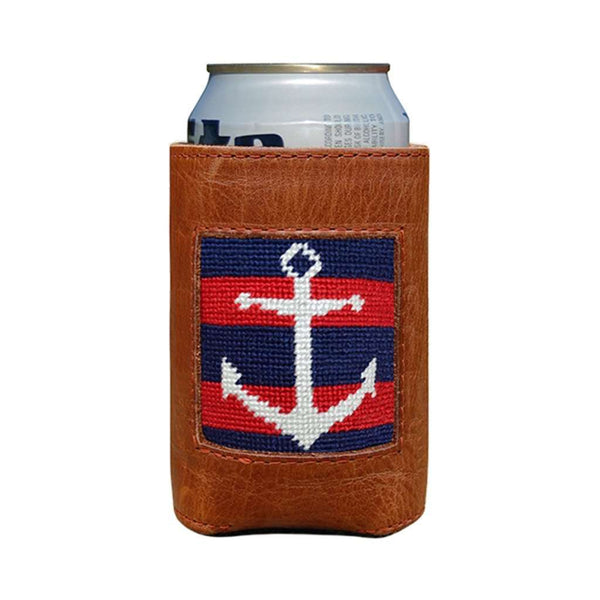 Can Holders - Striped Anchor Needlepoint Can Cooler In Dark Navy & Red By Smathers & Branson