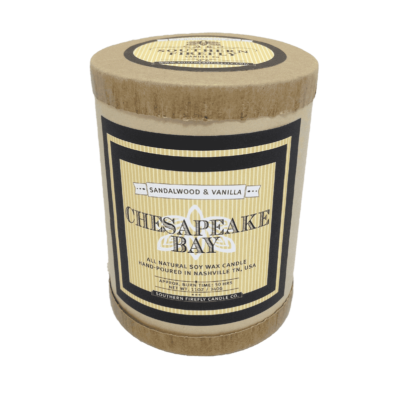 Chesapeake Bay Destination Series Soy Candle in Sandalwood and Vanilla Scent by Southern Firefly Candle Co.