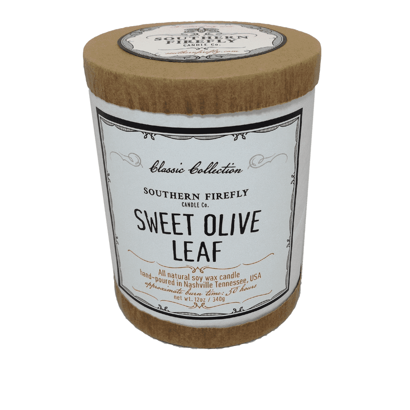 Classic Collection Soy Candle in Sweet Olive Leaf Scent by Southern Firefly Candle Co.