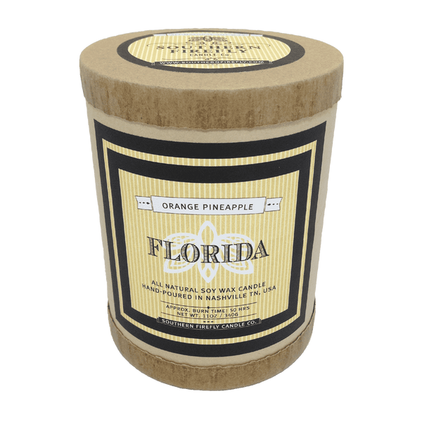 Florida Destination Series Soy Candle in Orange and Pineapple Scent by Southern Firefly Candle Co.