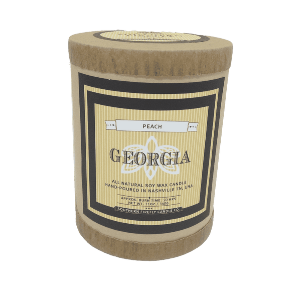 Georgia Destination Series Soy Candle in Fresh Peach Scent by Southern Firefly Candle Co.