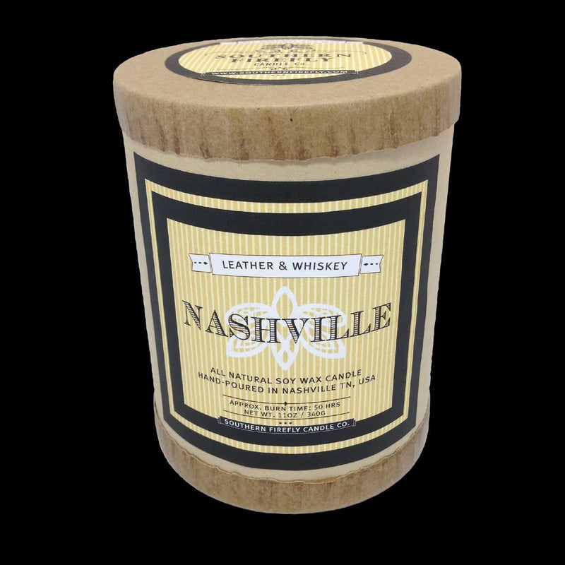 Nashville Destination Series Soy Candle in Leather and Whiskey Scent by Southern Firefly Candle Co.