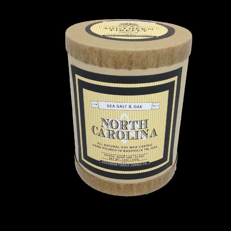 Candles - North Carolina Destination Series Soy Candle In Sea Salt And Oak Scent By Southern Firefly Candle Co.