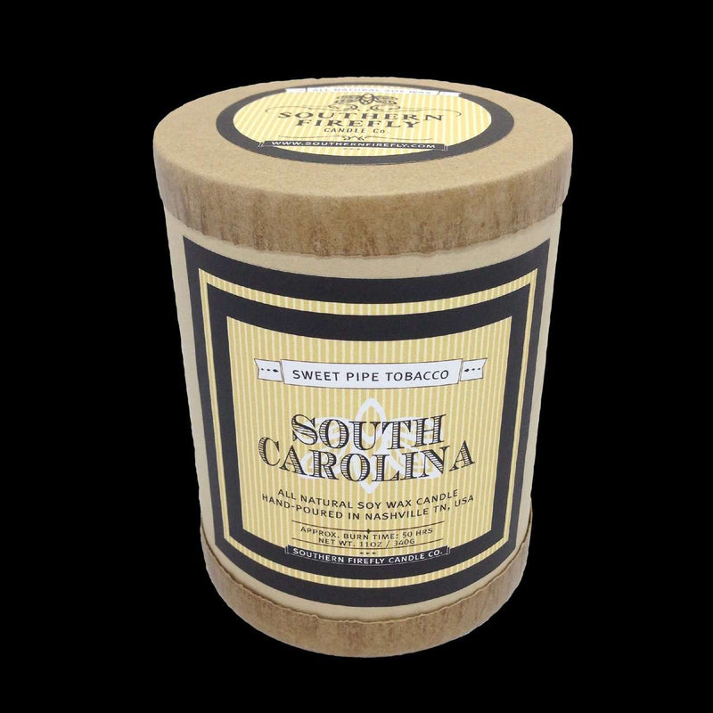 South Carolina Destination Series Soy Candle in Sweet Pipe Tobacco Scent by Southern Firefly Candle Co.