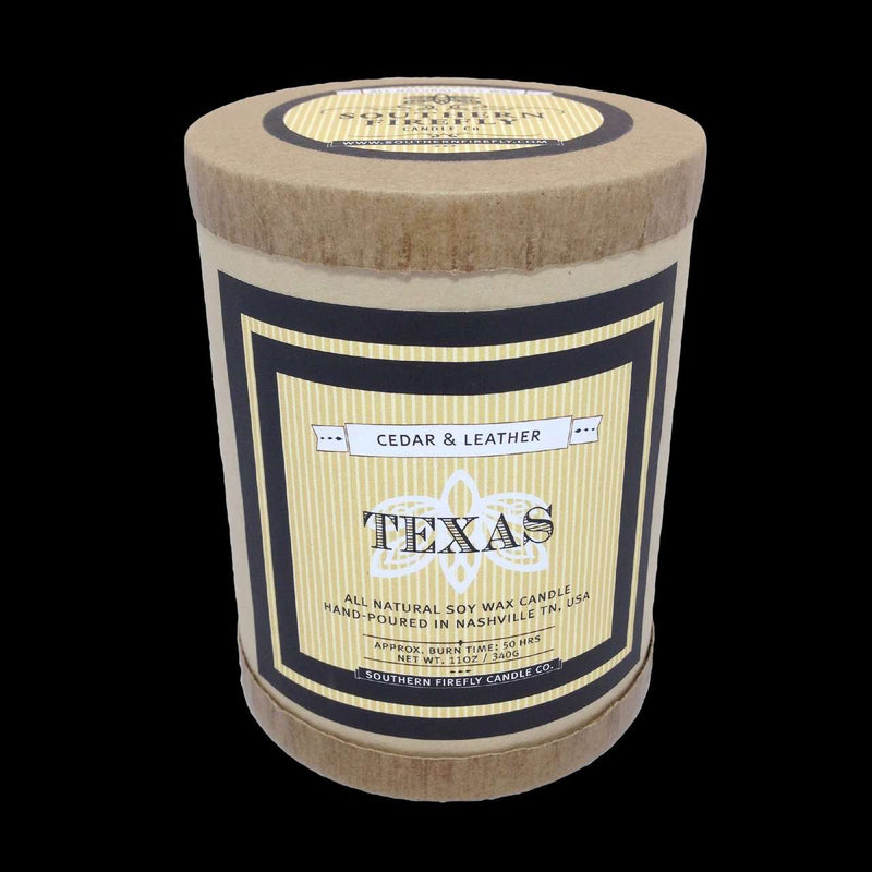 Texas Destination Series Soy Candle in Cedar and Leather Scent by Southern Firefly Candle Co.