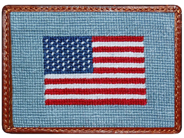 Card Wallets - American Flag Needlepoint Credit Card Wallet In Antique Blue By Smathers & Branson
