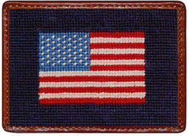 Card Wallets - American Flag Needlepoint Credit Card Wallet In Navy By Smathers & Branson