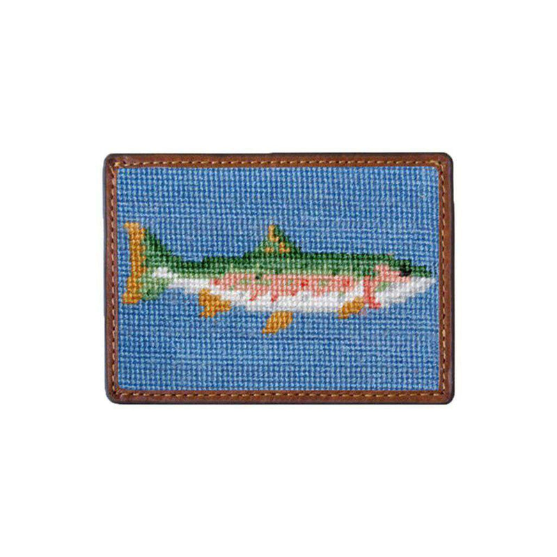 Big Trout Needlepoint Credit Card Wallet in Blue by Smathers & Branson