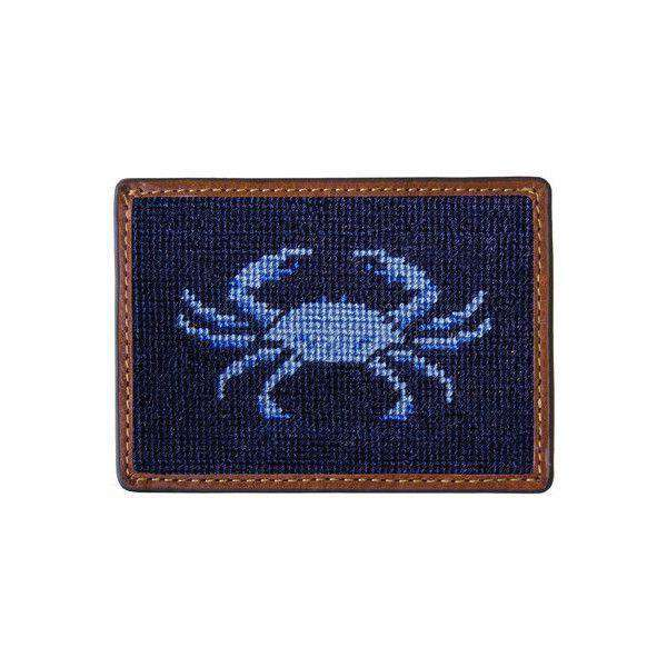 Card Wallets - Blue Crab Needlepoint Credit Card Wallet In Dark Navy By Smathers & Branson
