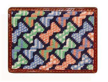 Card Wallets - Bow Ties Needlepoint Credit Card Wallet In Multicolor By Smathers & Branson