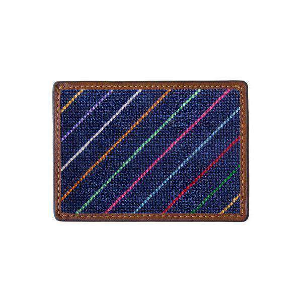 Card Wallets - Carter Stripe Needlepoint Credit Card Wallet In Navy By Smathers & Branson