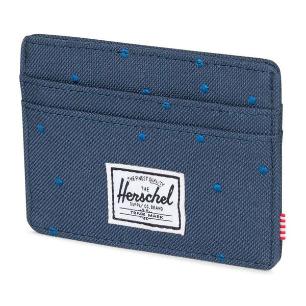 Card Wallets - Charlie Wallet In Navy With Cobalt Polka Dots By Herschel Supply Co.