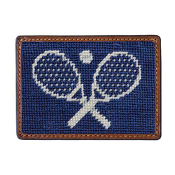 Crossed Racquets Needlepoint Credit Card Wallet in Classic Navy by Smathers & Branson