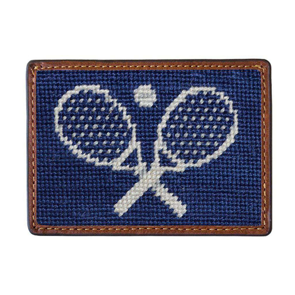 Card Wallets - Crossed Racquets Needlepoint Credit Card Wallet In Classic Navy By Smathers & Branson
