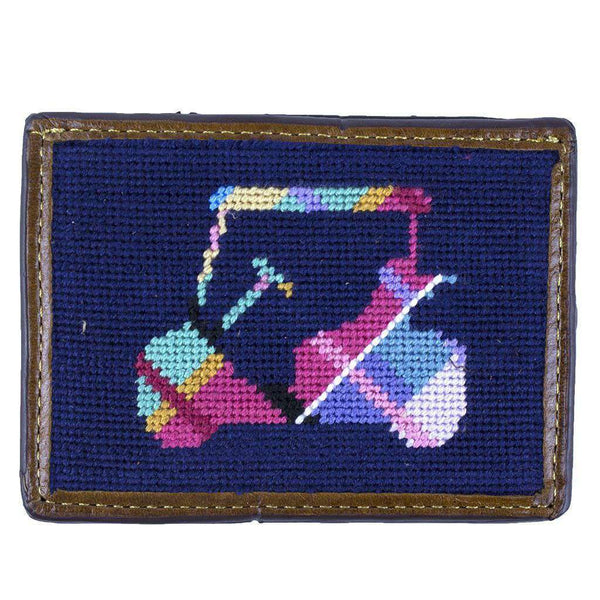 Card Wallets - Custom Madras Golf Cart Needlepoint Credit Card Wallet In Dark Navy By Smathers & Branson