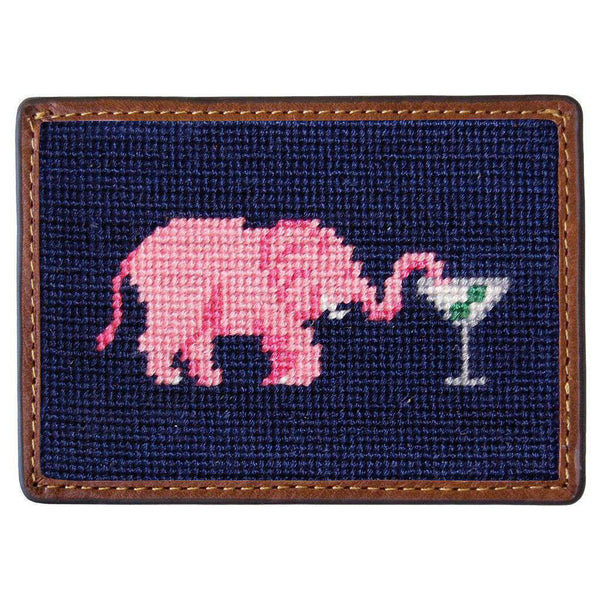 Elephant Martini Needlepoint Credit Card Wallet in Navy by Smathers & Branson