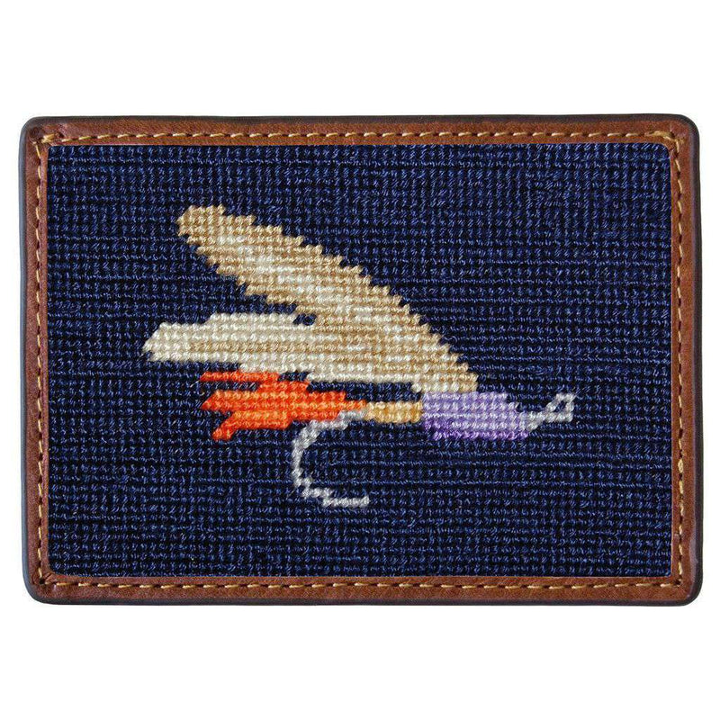 Fishing Fly Needlepoint Credit Card Wallet in Navy by Smathers & Branson