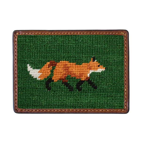 Card Wallets - Fox Needlepoint Credit Card Wallet In Dark Forest By Smathers & Branson