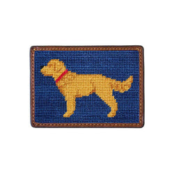 Golden Retriever Needlepoint Credit Card Wallet in Navy by Smathers & Branson