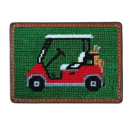 Card Wallets - Golf Cart Needlepoint Credit Card Wallet In Forest Green By Smathers & Branson