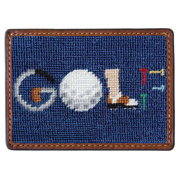 Card Wallets - GOLF Needlepoint Credit Card Wallet In Navy By Smathers & Branson