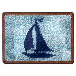 Heathered Sailboat Needlepoint Credit Card Wallet by Smathers & Branson