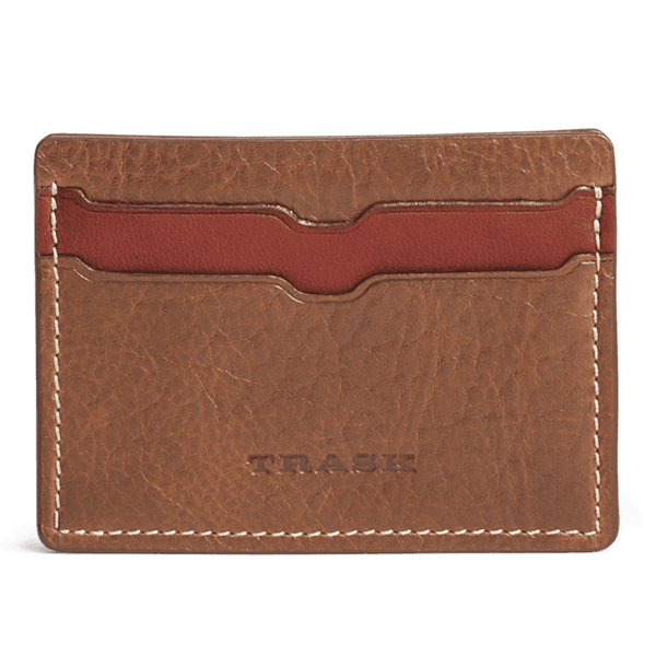 Jackson Weekender Credit Card Wallet in Cognac American Bison by Trask