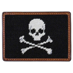 Card Wallets - Jolly Roger Needlepoint Credit Card Wallet In Black By Smathers & Branson
