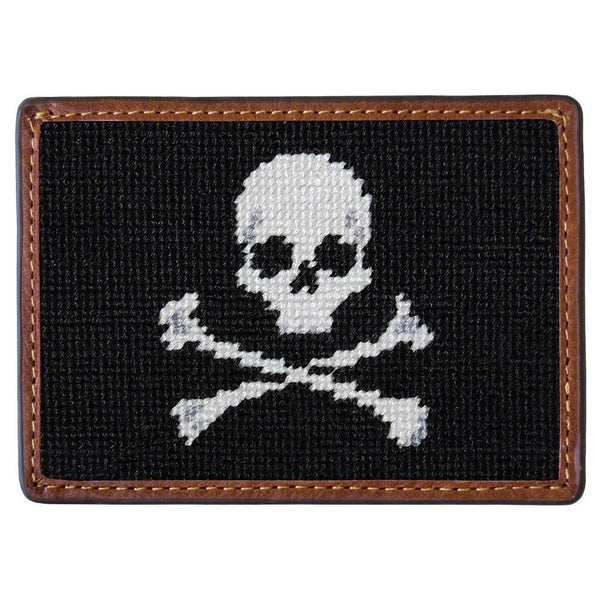 Jolly Roger Needlepoint Credit Card Wallet in Black by Smathers & Branson
