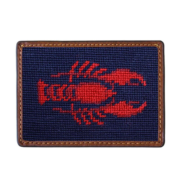 Lobster Needlepoint Credit Card Wallet in Dark Navy by Smathers & Branson