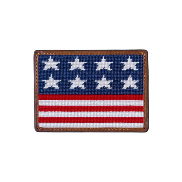 Card Wallets - Old Glory Needlepoint Credit Card Wallet In Red, White, And Blue By Smathers & Branson