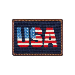 Patriotic USA Needlepoint Credit Card Wallet in Dark Navy by Smathers & Branson
