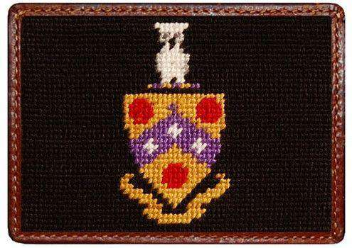 Phi Gamma Delta (FIJI) Needlepoint Credit Card Wallet in Black by Smathers & Branson