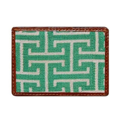 Card Wallets - Prospect Needlepoint Credit Card Wallet In Green By Smathers & Branson