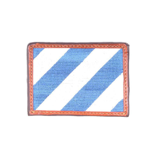 Card Wallets - Repp Stripe Needlepoint Credit Card Wallet In Blue And White By Smathers & Branson