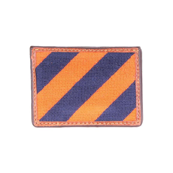Card Wallets - Repp Stripe Needlepoint Credit Card Wallet In Orange And Dark Navy By Smathers & Branson