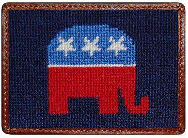 Card Wallets - Republican Needlepoint Credit Card Wallet In Navy By Smathers & Branson