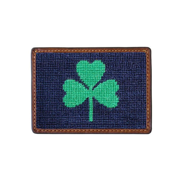 Shamrock Needlepoint Credit Card Wallet in Dark Navy by Smathers & Branson