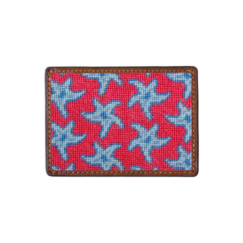 Starfish Needlepoint Credit Card Wallet in Coral by Smathers & Branson