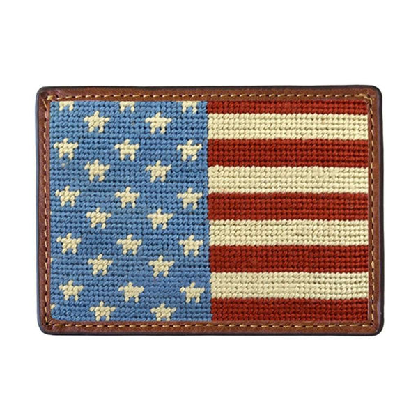 Card Wallets - Stars And Stripes Needlepoint Credit Card Wallet By Smathers & Branson