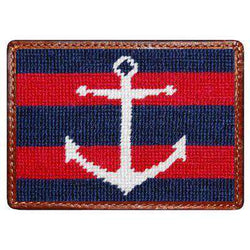Striped Anchor Needlepoint Credit Card Wallet in Navy and Red by Smathers & Branson