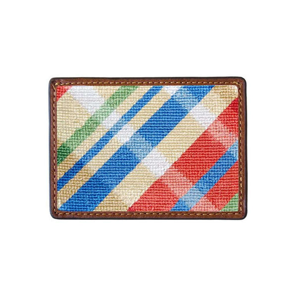 Summer Madras Needlepoint Credit Card Wallet by Smathers & Branson