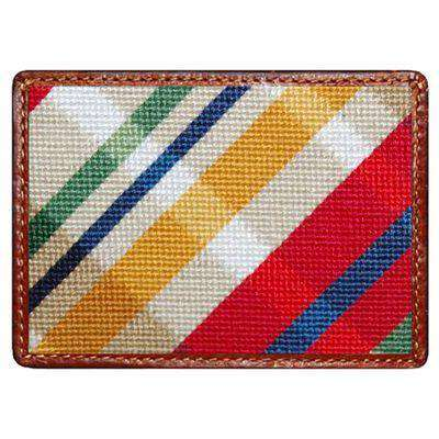 Traditional Madras Needlepoint Credit Card Wallet by Smathers & Branson
