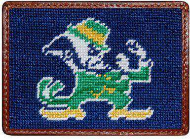 University of Notre Dame Needlepoint Credit Card Wallet in Blue by Smathers & Branson
