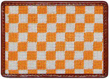 Card Wallets - University Of Tennessee Checked Needlepoint Credit Card Wallet In Orange/White By Smathers & Branson