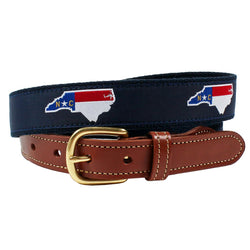 State Fill North Carolina Flag Leather Tab Belt by Country Club Prep
