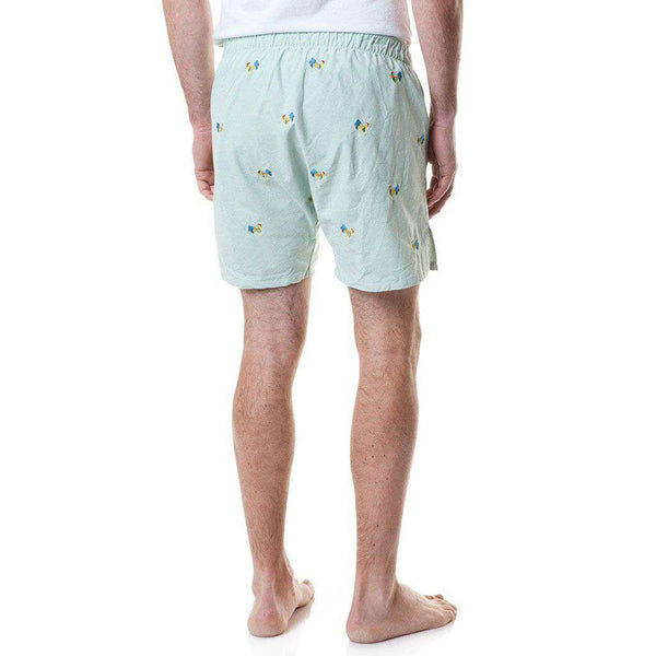 Castaway Clothing Barefoot Boxer in Seafoam Oxford with Embroidered Coq of the Walk