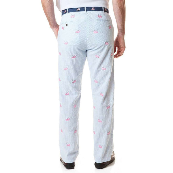 Harbor Pant in Blue Seersucker with Embroidered Flying Pig by Castaway Clothing - FINAL SALE