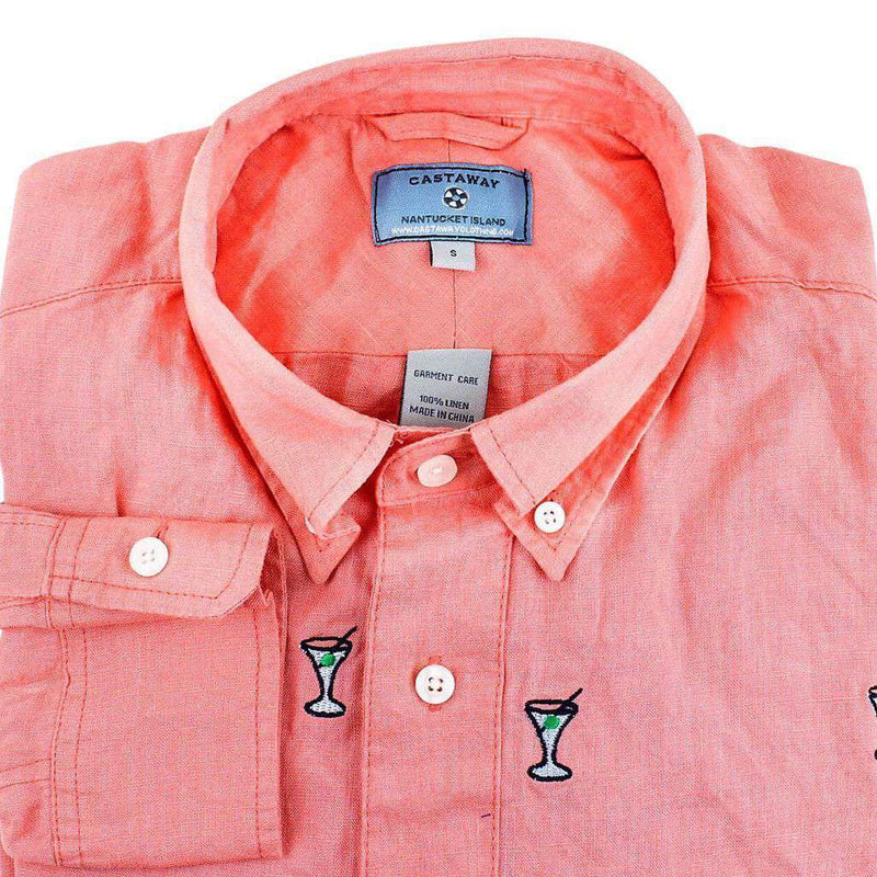 Chase Long Sleeve Shirt in Coral Linen with Embroidered Martinis by Castaway Clothing - FINAL SALE